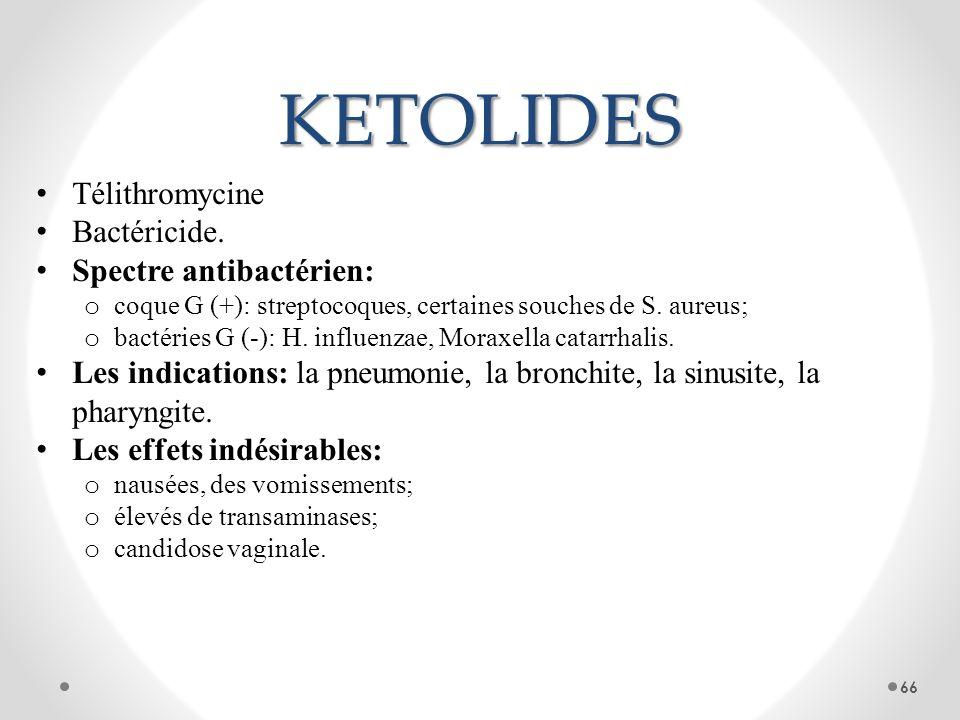 KETOLIDES Télithromycine Bactéricide. Spectre antibactérien: o coque G (+): streptocoques, certaines souches de S. aureus; o bactéries G (-): H. influ