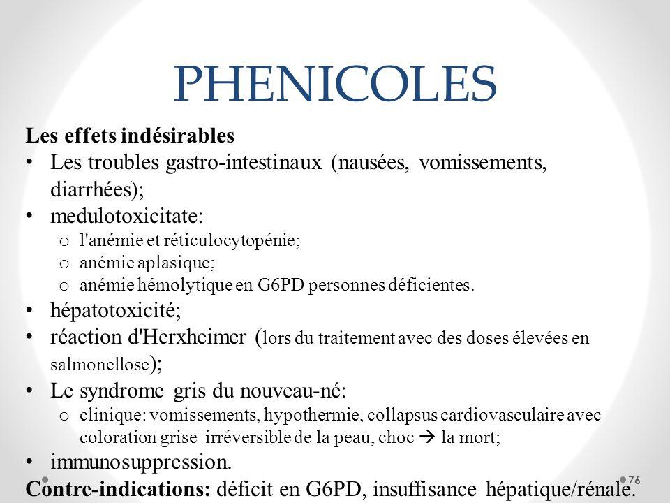 PHENICOLES Les effets indésirables Les troubles gastro-intestinaux (nausées, vomissements, diarrhées); medulotoxicitate: o l'anémie et réticulocytopén