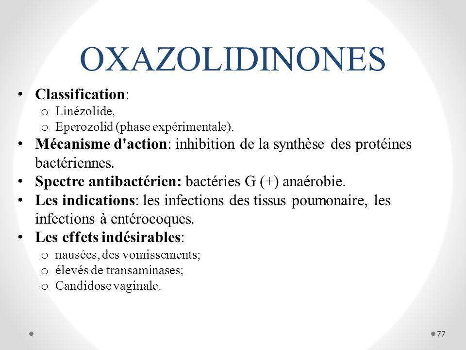 OXAZOLIDINONES Classification: o Linézolide, o Eperozolid (phase expérimentale). Mécanisme d'action: inhibition de la synthèse des protéines bactérien