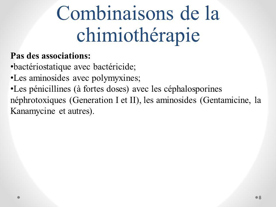 Combinaisons de la chimiothérapie Pas des associations: bactériostatique avec bactéricide; Les aminosides avec polymyxines; Les pénicillines (à fortes