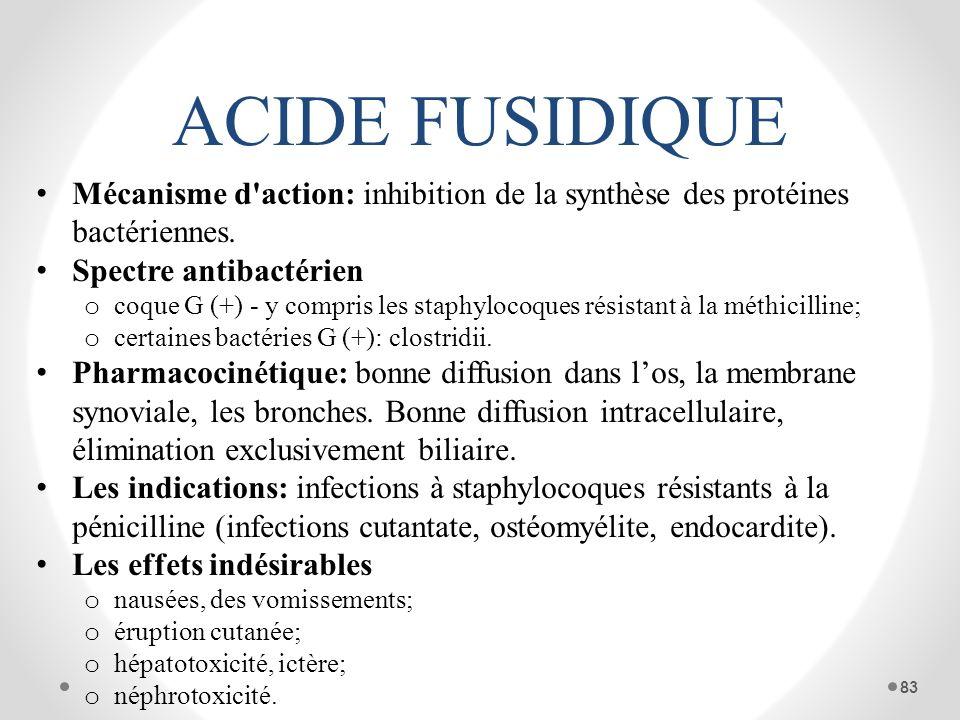 ACIDE FUSIDIQUE Mécanisme d'action: inhibition de la synthèse des protéines bactériennes. Spectre antibactérien o coque G (+) - y compris les staphylo