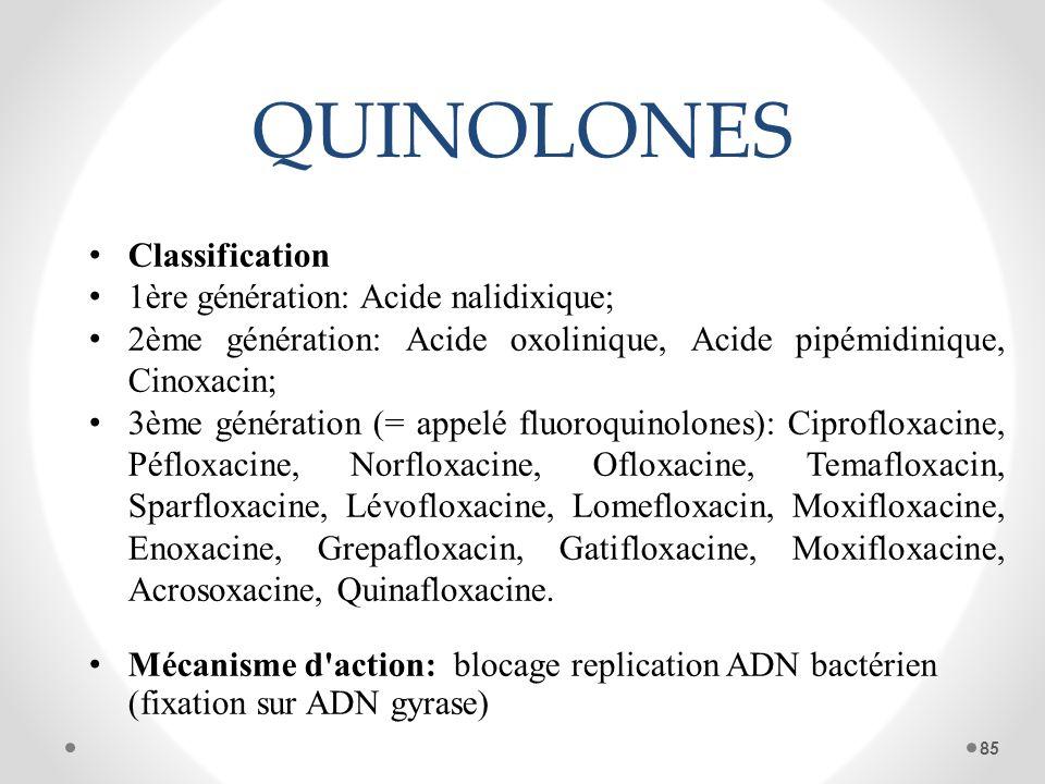 QUINOLONES Classification 1ère génération: Acide nalidixique; 2ème génération: Acide oxolinique, Acide pipémidinique, Cinoxacin; 3ème génération (= ap