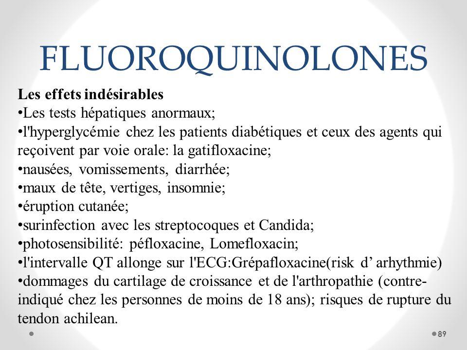 FLUOROQUINOLONES Les effets indésirables Les tests hépatiques anormaux; l'hyperglycémie chez les patients diabétiques et ceux des agents qui reçoivent