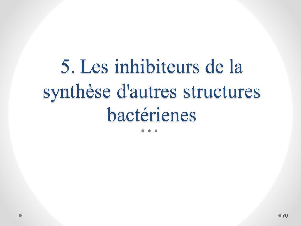 5. Les inhibiteurs de la synthèse d'autres structures bactérienes 90