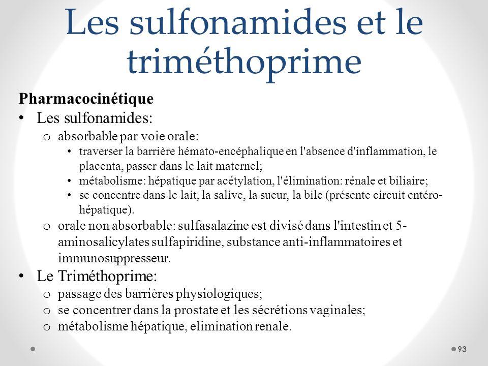 Les sulfonamides et le triméthoprime Pharmacocinétique Les sulfonamides: o absorbable par voie orale: traverser la barrière hémato-encéphalique en l'a