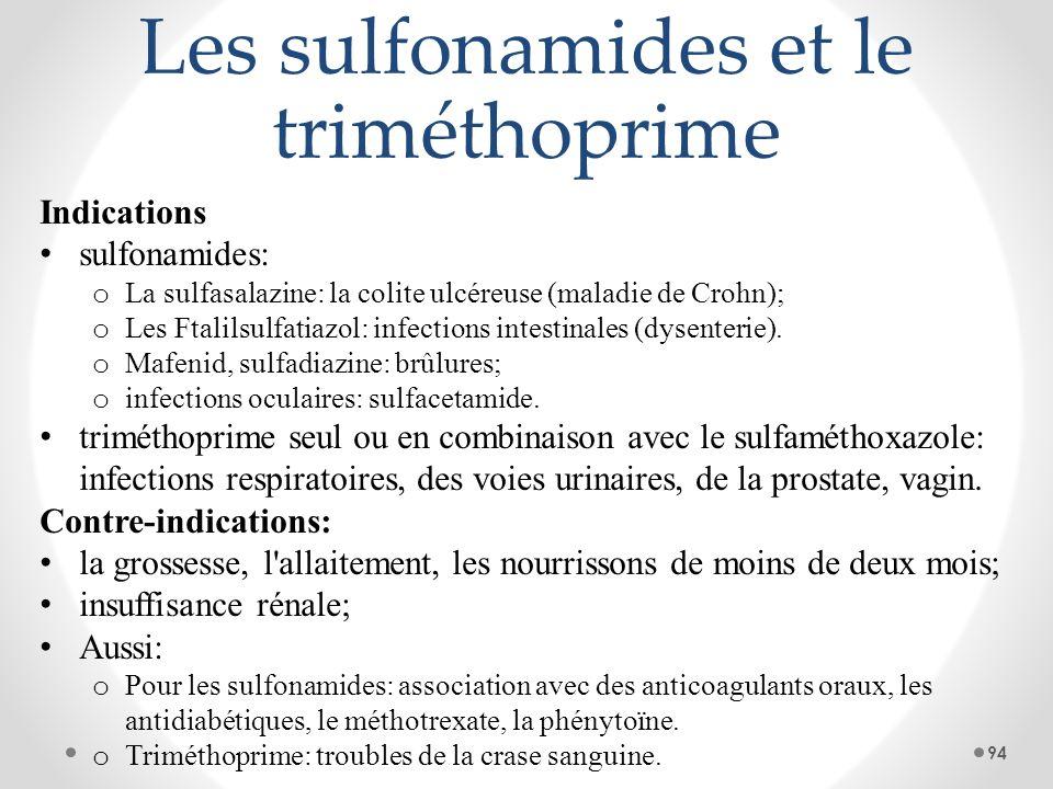 Les sulfonamides et le triméthoprime Indications sulfonamides: o La sulfasalazine: la colite ulcéreuse (maladie de Crohn); o Les Ftalilsulfatiazol: in