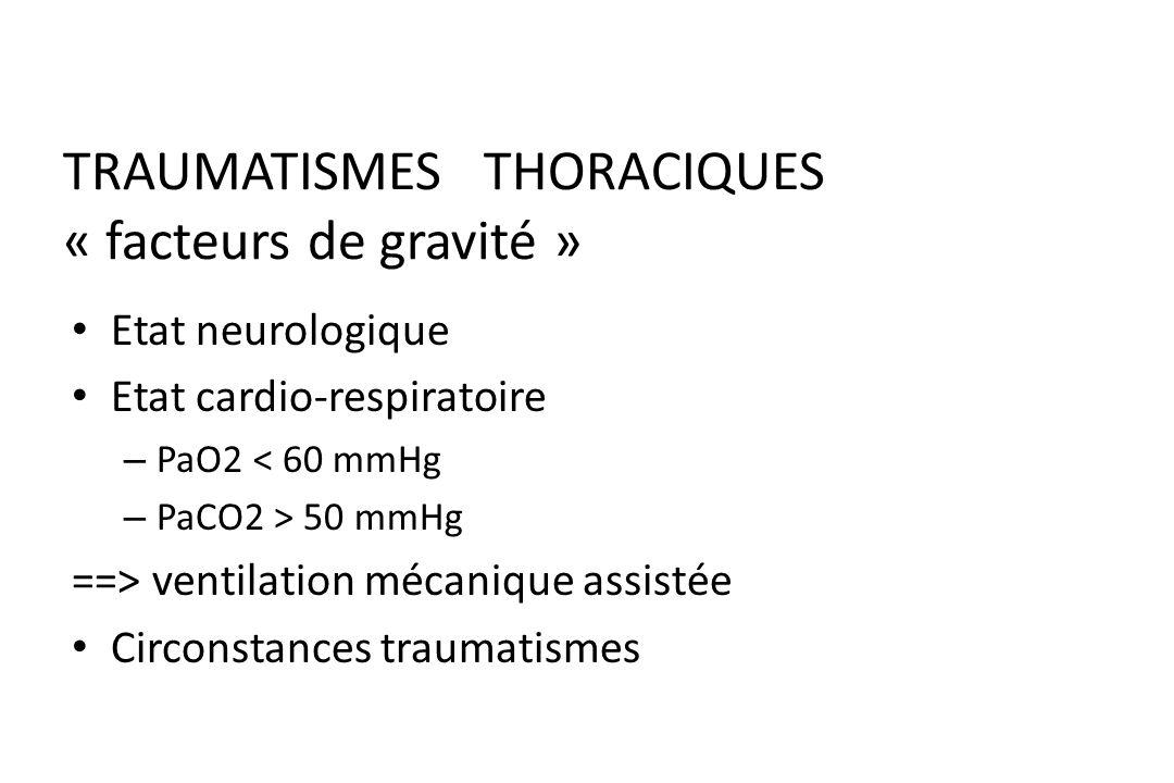 TRAUMATISME THORACIQUE « Bilan diagnostic » Bilan biologique : Groupe Rh, Hémostase, Ionogramme sanguin, Gaz du sang PaO2, PaCO2 Bilan radiologique (e