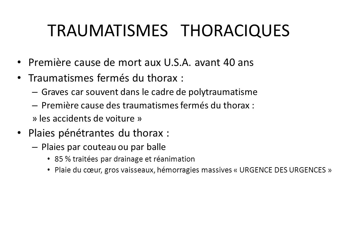 TRAUMATISMES THORACIQUES