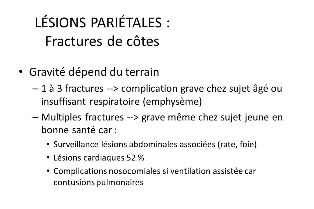 TRAUMATISMES THORACIQUES « Bilan lésionnel » Thoracique : – Lésions pariétales – Lésions pleurales : Hémothorax Pneumothorax Hémopneumothorax – Lésion