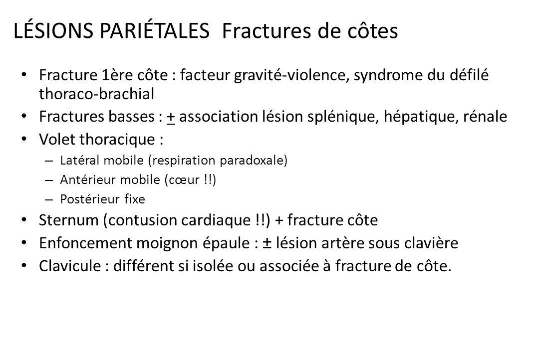 LÉSIONS PARIÉTALES : Fractures de côtes Gravité dépend du terrain – 1 à 3 fractures --> complication grave chez sujet âgé ou insuffisant respiratoire