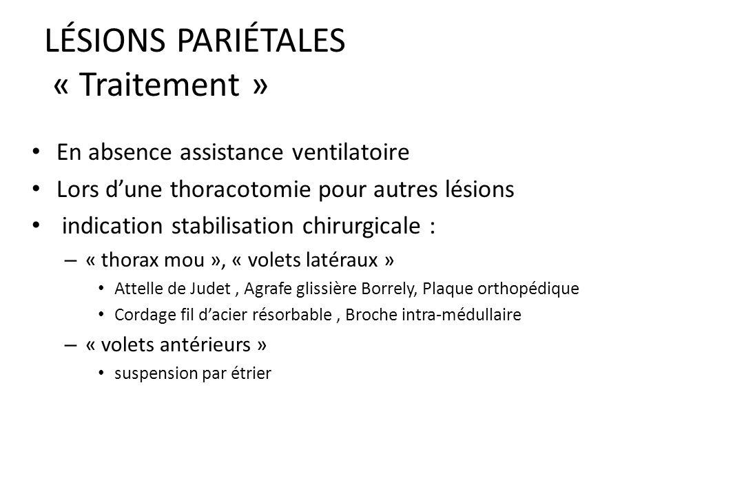 LÉSIONS PARIÉTALES « Traitement » Rare indication stabilisation chirurgicale Plus souvent stabilisation pneumatique interne par ventilation mécanique