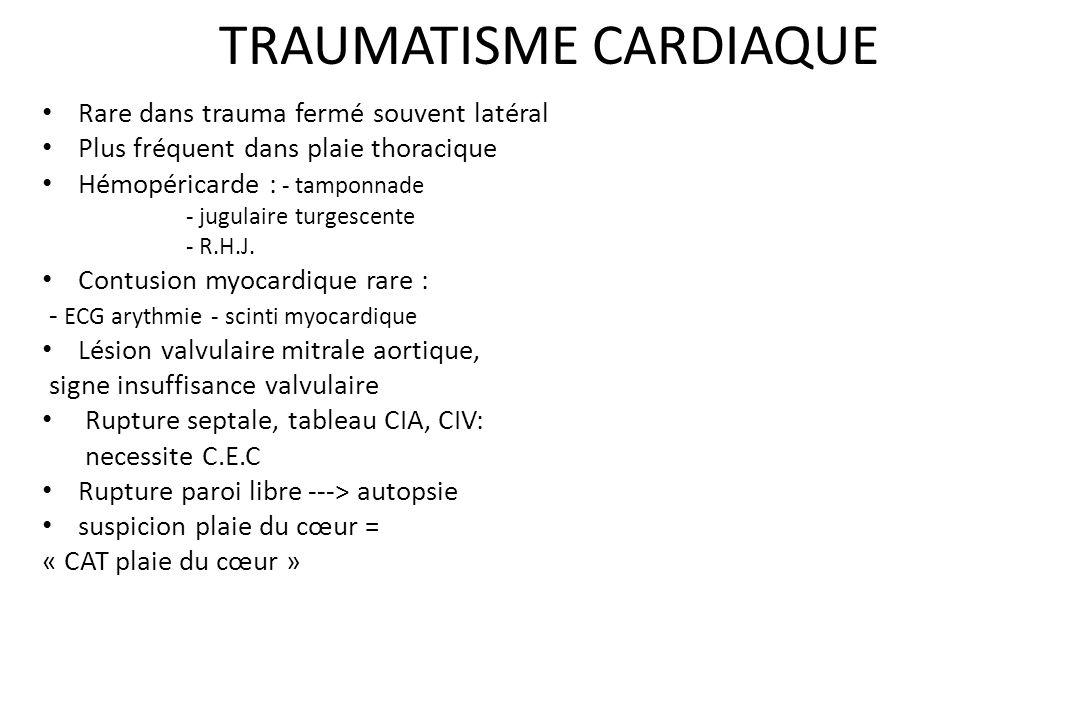 BILAN LÉSIONNEL Thoracique : – Lésions pariétales – Lésions pleurales : Hémothorax Pneumothorax Hémopneumothorax – Lésions pulmonaires – Lésions trach