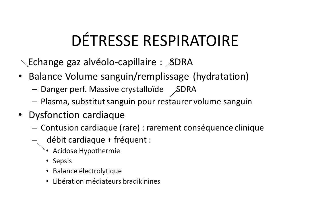 DÉTRESSE RESPIRATOIRE SDRA - ARDS Contusion pulmonaire : Lésions moléculaires Lésions cellulaires Œdème pulmonaire – de la perméabilité A-C – surfacta