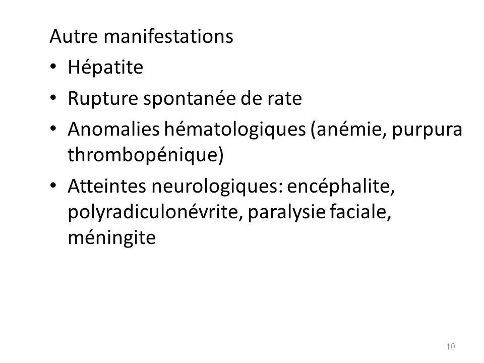 Autre manifestations Hépatite Rupture spontanée de rate Anomalies hématologiques (anémie, purpura thrombopénique) Atteintes neurologiques: encéphalite
