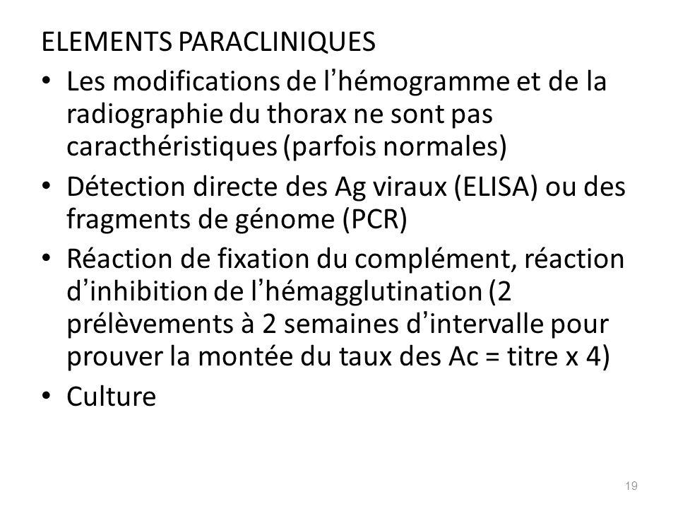 ELEMENTS PARACLINIQUES Les modifications de l hémogramme et de la radiographie du thorax ne sont pas caracthéristiques (parfois normales) Détection di