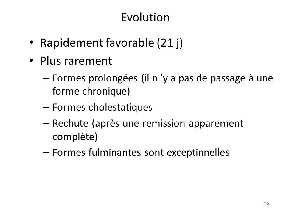 Evolution Rapidement favorable (21 j) Plus rarement – Formes prolongées (il n y a pas de passage à une forme chronique) – Formes cholestatiques – Rech