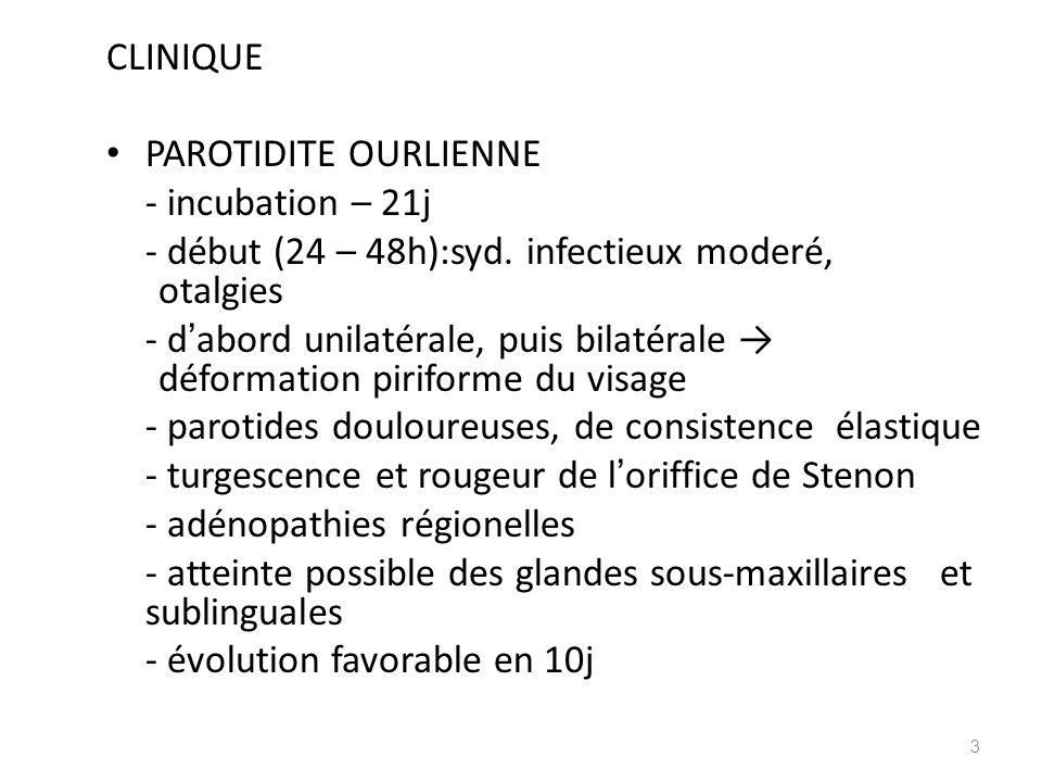 CLINIQUE PAROTIDITE OURLIENNE - incubation – 21j - début (24 – 48h):syd. infectieux moderé, otalgies - d abord unilatérale, puis bilatérale déformatio