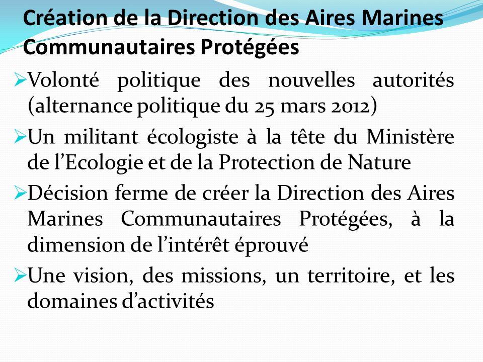 Création de la Direction des Aires Marines Communautaires Protégées Volonté politique des nouvelles autorités (alternance politique du 25 mars 2012) U