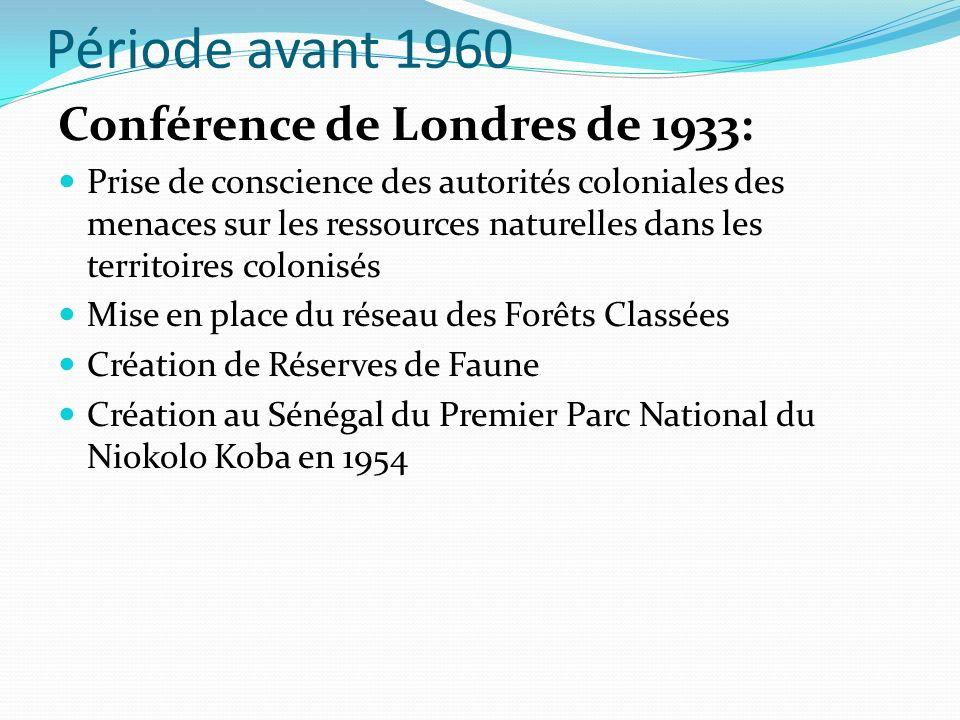 Période avant 1960 Conférence de Londres de 1933: Prise de conscience des autorités coloniales des menaces sur les ressources naturelles dans les territoires colonisés Mise en place du réseau des Forêts Classées Création de Réserves de Faune Création au Sénégal du Premier Parc National du Niokolo Koba en 1954