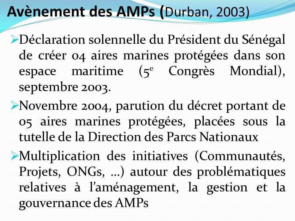 Avènement des AMPs ( Durban, 2003) Déclaration solennelle du Président du Sénégal de créer 04 aires marines protégées dans son espace maritime (5 e Co