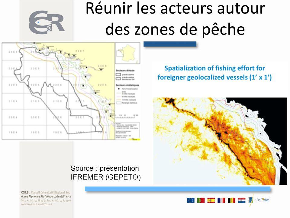 Réunir les acteurs autour des zones de pêche Source : présentation IFREMER (GEPETO)
