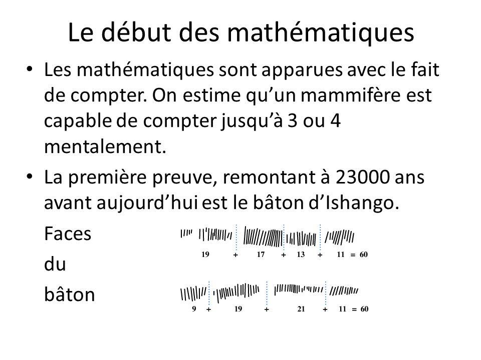 Le début des mathématiques Les mathématiques sont apparues avec le fait de compter. On estime quun mammifère est capable de compter jusquà 3 ou 4 ment