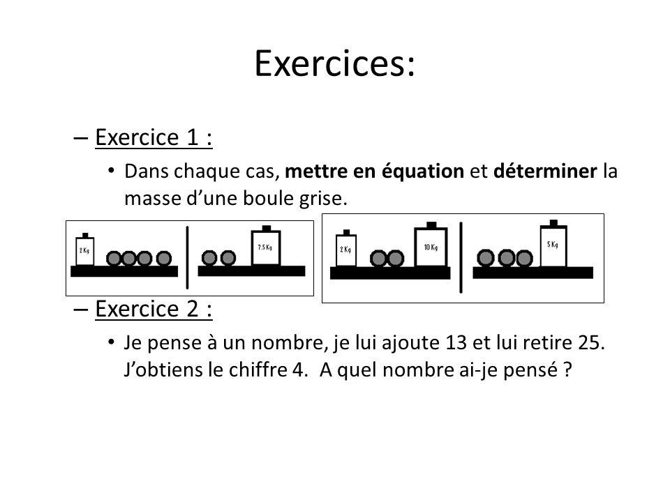 Exercices: – Exercice 1 : Dans chaque cas, mettre en équation et déterminer la masse dune boule grise. – Exercice 2 : Je pense à un nombre, je lui ajo