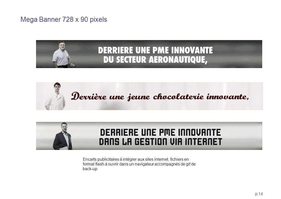 p.14 Mega Banner 728 x 90 pixels Encarts publicitaires à intégrer aux sites internet, fichiers en format flash à ouvrir dans un navigateur accompagnés