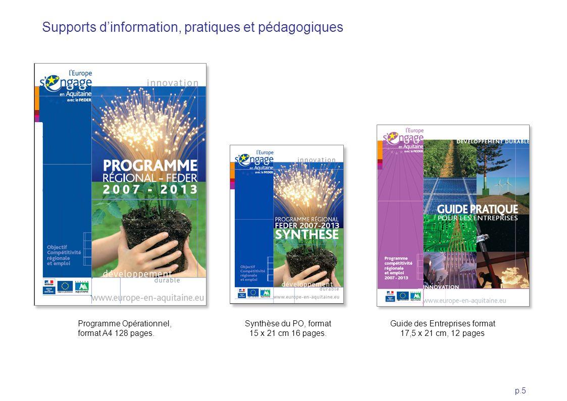 p.5 Programme Opérationnel, format A4 128 pages. Synthèse du PO, format 15 x 21 cm 16 pages. Guide des Entreprises format 17,5 x 21 cm, 12 pages Suppo