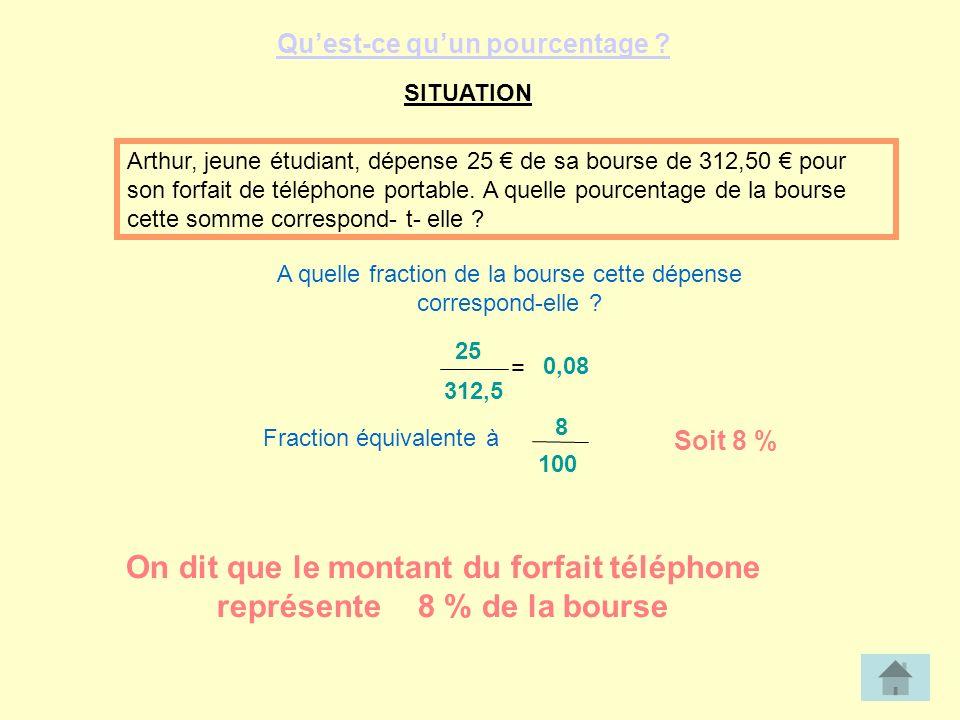 SITUATION Arthur, jeune étudiant, dépense 25 de sa bourse de 312,50 pour son forfait de téléphone portable.