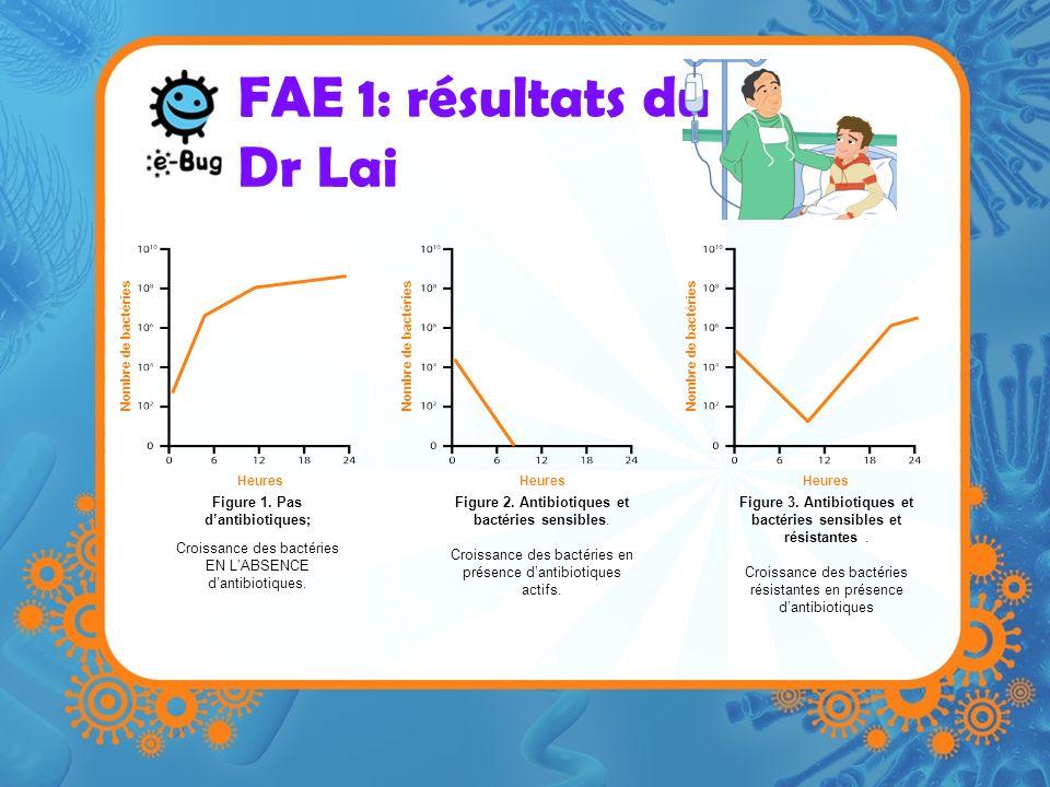 FAE 1: résultats du Dr Lai Heures Nombre de bactéries Heures Nombre de bactéries Figure 1. Pas dantibiotiques; Croissance des bactéries EN LABSENCE da