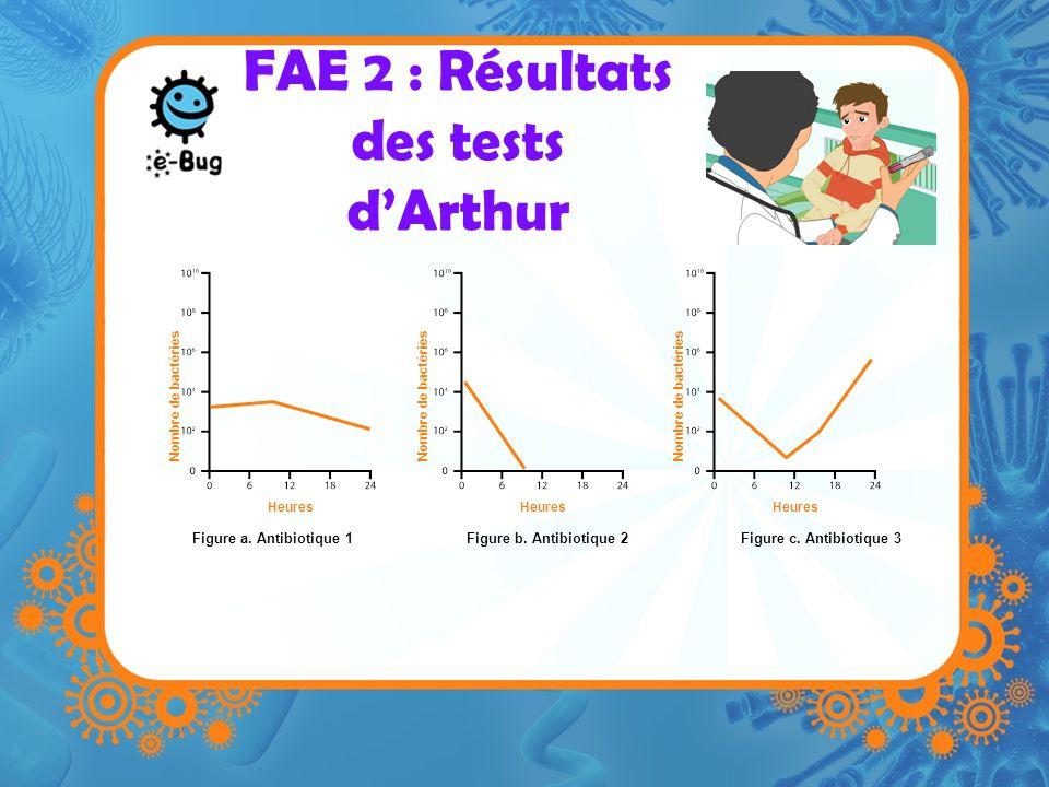 FAE 2 : Résultats des tests dArthur Figure a. Antibiotique 1Figure b. Antibiotique 2Figure c. Antibiotique 3 Heures Nombre de bactéries