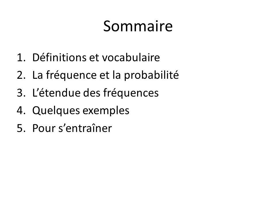 Sommaire 1.Définitions et vocabulaire 2.La fréquence et la probabilité 3.Létendue des fréquences 4.Quelques exemples 5.Pour sentraîner