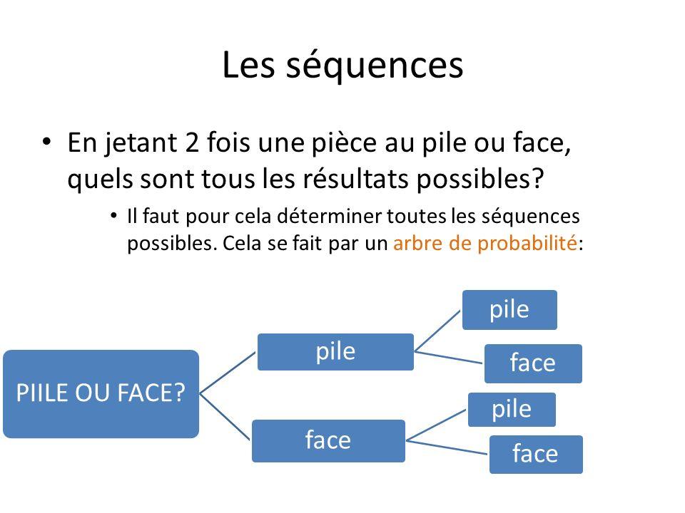 Les séquences En jetant 2 fois une pièce au pile ou face, quels sont tous les résultats possibles.