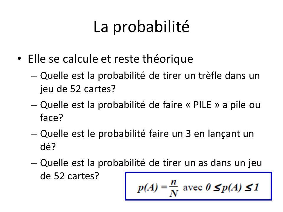 La probabilité Elle se calcule et reste théorique – Quelle est la probabilité de tirer un trèfle dans un jeu de 52 cartes.