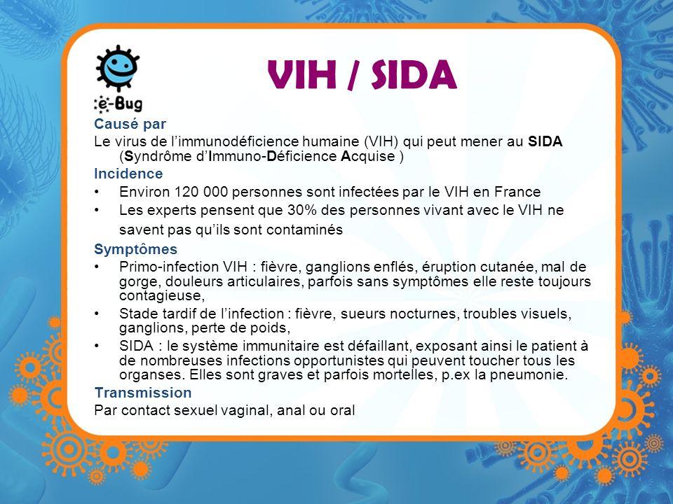 VIH / SIDA Causé par Le virus de limmunodéficience humaine (VIH) qui peut mener au SIDA (Syndrôme dImmuno-Déficience Acquise ) Incidence Environ 120 0