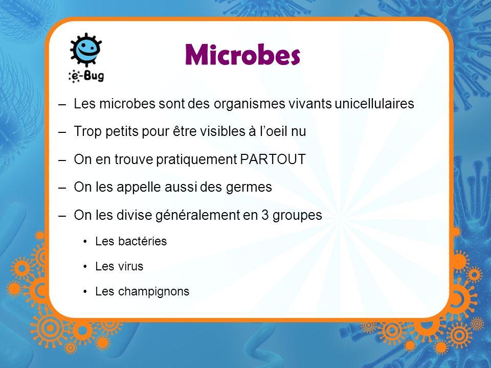 Microbes –Les microbes sont des organismes vivants unicellulaires –Trop petits pour être visibles à loeil nu –On en trouve pratiquement PARTOUT –On le