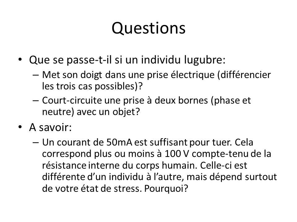 Questions Que se passe-t-il si un individu lugubre: – Met son doigt dans une prise électrique (différencier les trois cas possibles)? – Court-circuite