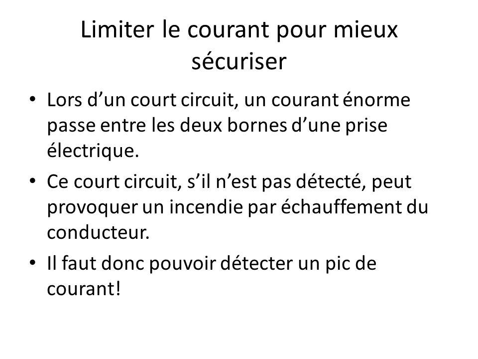 Limiter le courant pour mieux sécuriser Lors dun court circuit, un courant énorme passe entre les deux bornes dune prise électrique. Ce court circuit,