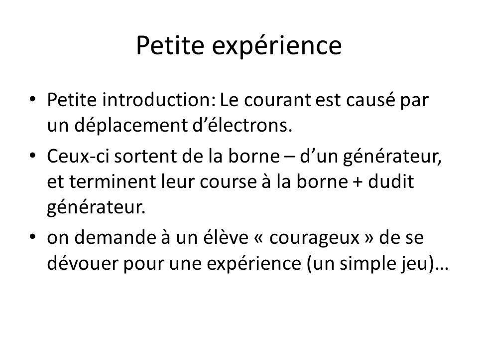 Petite expérience Petite introduction: Le courant est causé par un déplacement délectrons. Ceux-ci sortent de la borne – dun générateur, et terminent