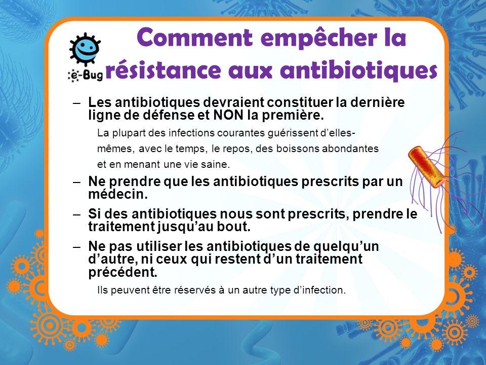 Comment empêcher la résistance aux antibiotiques –Les antibiotiques devraient constituer la dernière ligne de défense et NON la première. La plupart d
