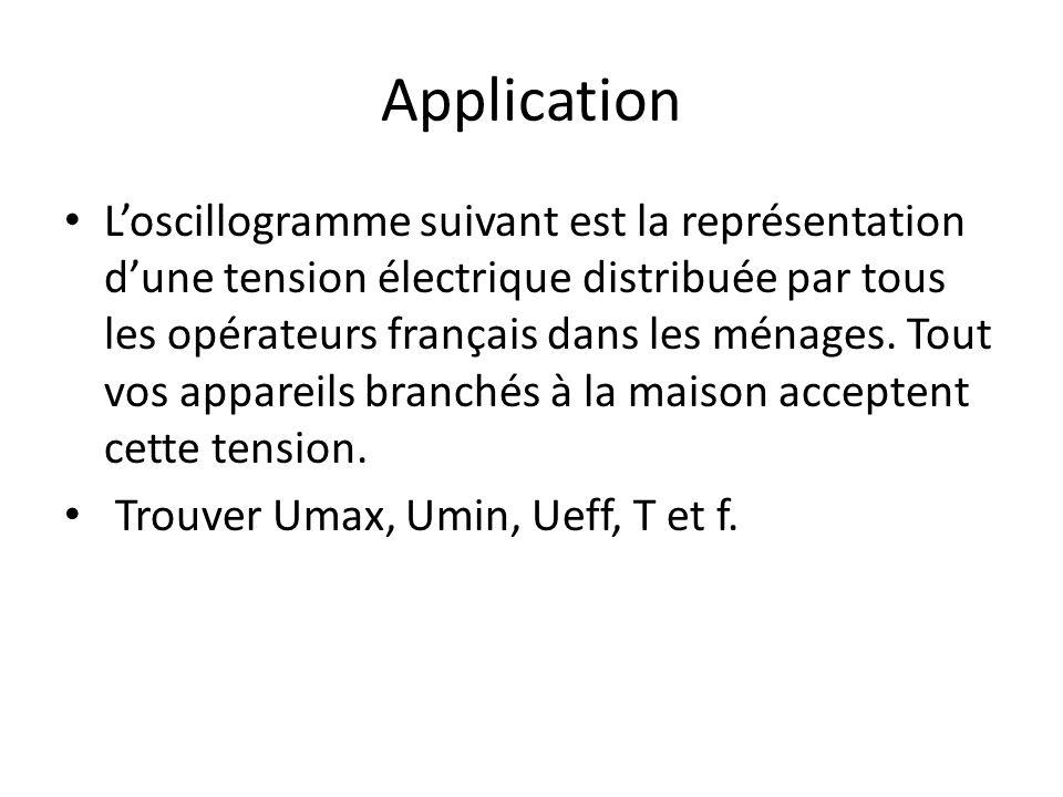Application Loscillogramme suivant est la représentation dune tension électrique distribuée par tous les opérateurs français dans les ménages.
