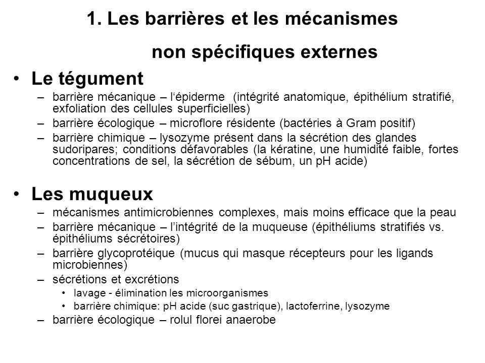 1. Les barrières et les mécanismes non spécifiques externes Le tégument –barrière mécanique – lépiderme (intégrité anatomique, épithélium stratifié, e