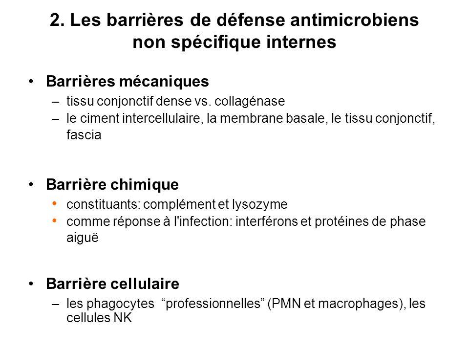 2. Les barrières de défense antimicrobiens non spécifique internes Barrières mécaniques –tissu conjonctif dense vs. collagénase –le ciment intercellul