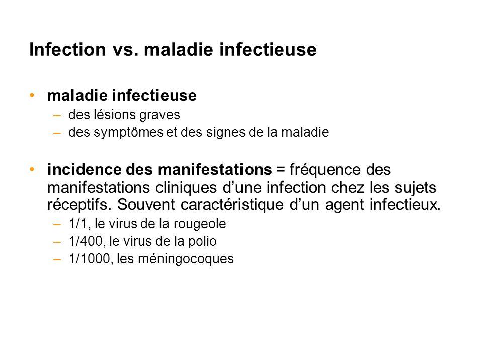 Infection vs. maladie infectieuse maladie infectieuse –des lésions graves –des symptômes et des signes de la maladie incidence des manifestations = fr