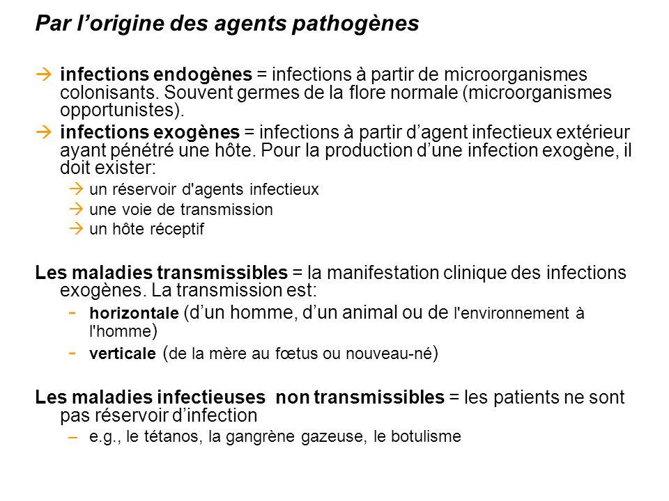 Par lorigine des agents pathogènes infections endogènes = infections à partir de microorganismes colonisants. Souvent germes de la flore normale (micr