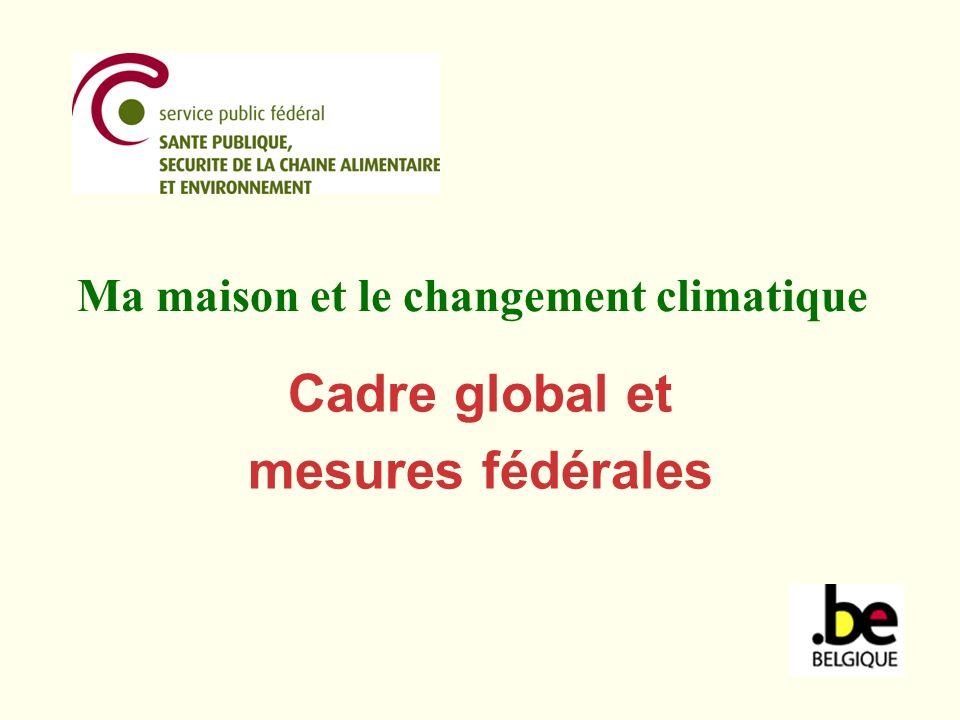 Protocole de Kyoto adoption en 1997, entrée en vigueur le 16 février 2005 objectif: réduire les émissions de gaz à effet de serre tels que le dioxyde de carbone (CO 2 ), le méthane (CH 4 ), le protoxyde dazote (N 2 O) et les gaz à effet de serre fluorés (HFC, PFC, SF6) établit des quotas démission pour la période 2008-2012 (quantités de gaz à effet de serre que chaque pays peut émettre au cours de cette période) Belgique: dici à 2012, les émissions annuelles moyennes doivent chuter de 7,5% par rapport à 1990.