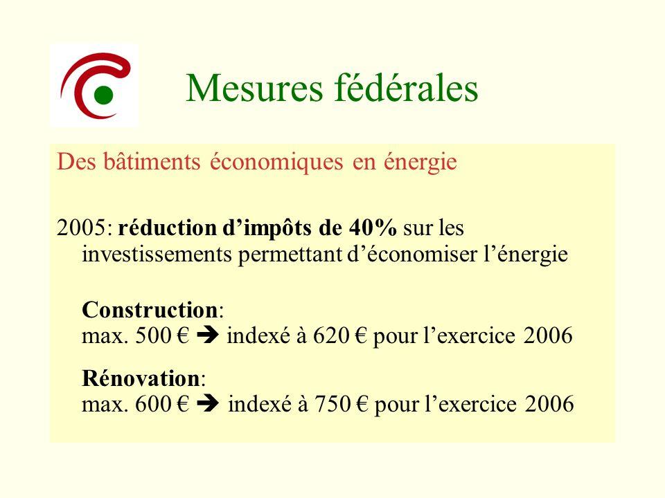 Mesures fédérales Des bâtiments économiques en énergie 2005: réduction dimpôts de 40% sur les investissements permettant déconomiser lénergie Construc