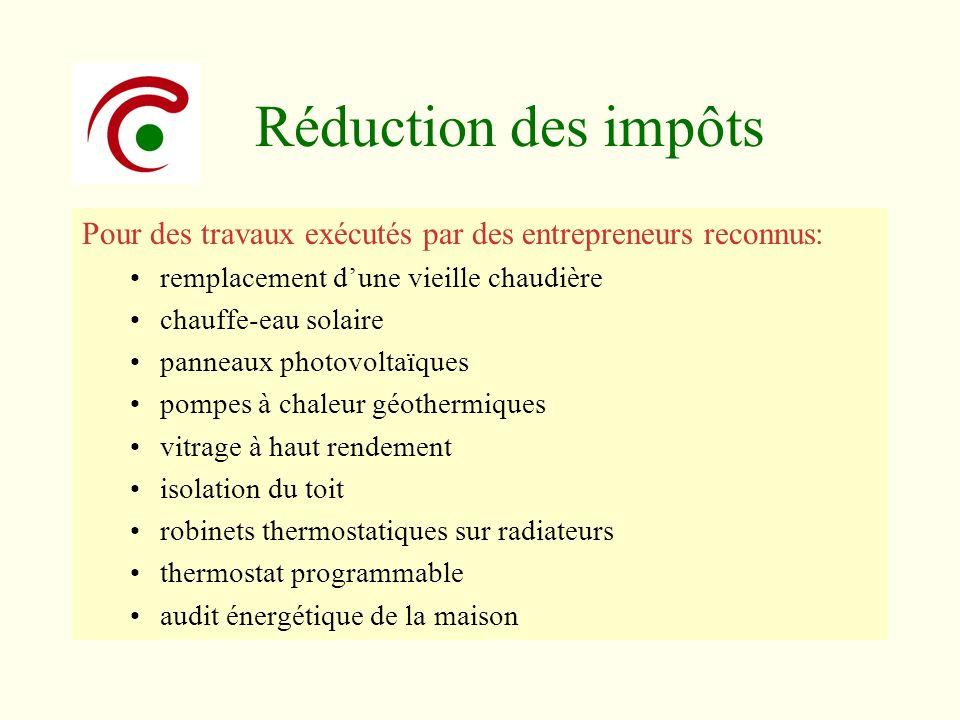 Réduction des impôts Pour des travaux exécutés par des entrepreneurs reconnus: remplacement dune vieille chaudière chauffe-eau solaire panneaux photov