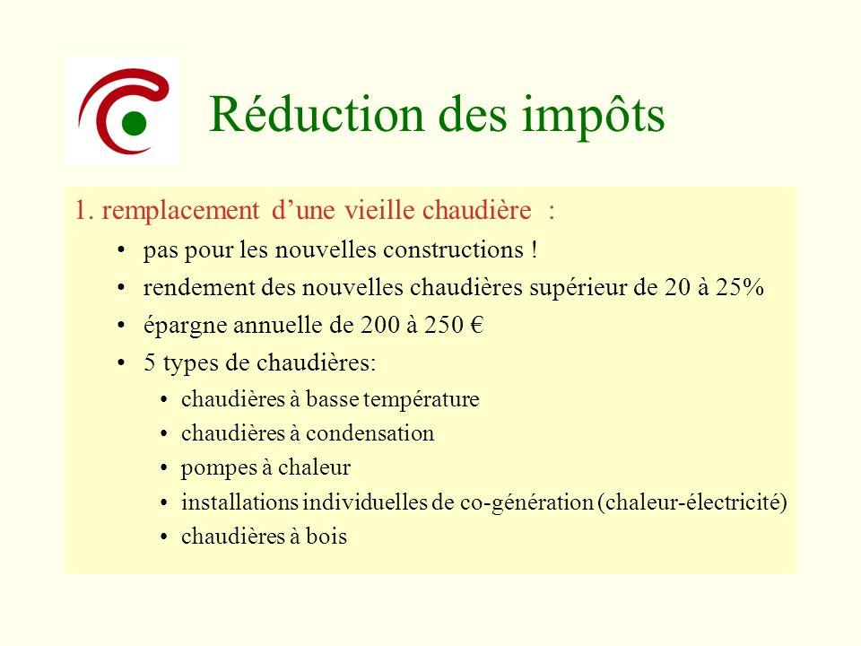 Réduction des impôts 1. remplacement dune vieille chaudière : pas pour les nouvelles constructions ! rendement des nouvelles chaudières supérieur de 2
